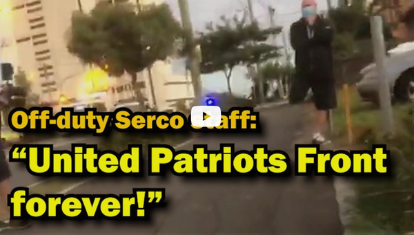 Serco staffer yells 'UPF FOREVER!' at refugee activists.